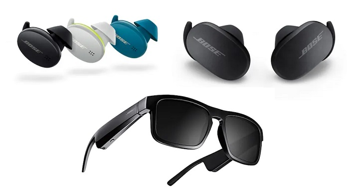 Bose QC Earbuds, Bose Sport Earbuds, Three Bose Frames Audio Sunglasses